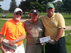 Harvey King (center) and Dave Pendergast (right) receiving congratulations and awards as Winners of the 2013 MSGA Championship from Bill Murray