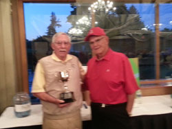 Bob Brady (left) presenting Tom Stefaniak with the first place award for the 2014 Brady Cup competition