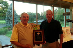 Bob Brady (left) receiving Recognition Award for his 16 years of Dedicated Service and Leadership to the MSGA