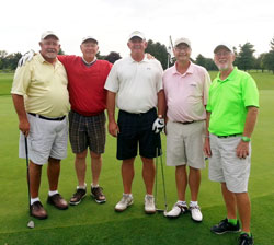 Director of Golf Bill Murray (right) with 2014 Championship winners (from left) Bill Gustin and John Becking and Runners-up Roger Stevens and Bruce Fisher