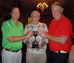 2012 Brady Cup Co-Winners Bruce Fisher (left) and Mike Robinson (right) accepting congratulations from Bob Brady at the awards presentation