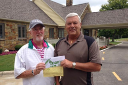 Dan DeMartinis (right) receiving congratulations from Bill Murray on his Hole-in-One at Sandy Pines on July 9, 2014 (Last MSGA tournament Hole-in-One)